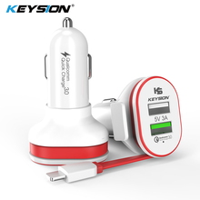 KEYSION 2 Port 33W Quick Charge 3.0 Car Charger QC 3.0+5V/3A USB Fast Mobile Phone Travel Adapter car-charge With Cable