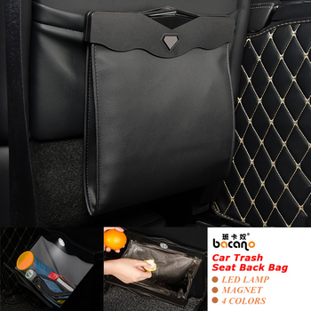 Led Dual-use Storage Bag Car Vehicle Trash Rubbish Bin Garbage Can Styling Dust Case Seat Back Bag  For Ford Ashtray Barrel