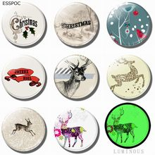 Luminous 8PCS Christmas Moose Cartoon Deer 25MM Glass Magnets Fridge Set Cute Elk Refrigerator Decoration Magnetic Stickers