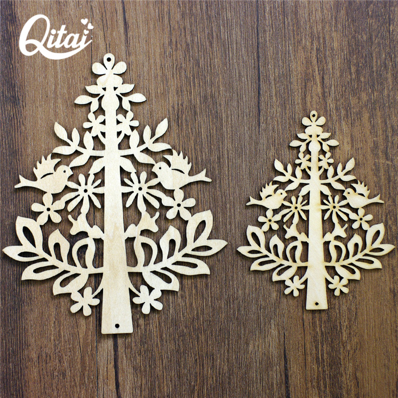 "QITAI 12pcs/pack ""christmas trees"" Wood Crafts DIY scrapbooking Wooden the home Decoration for children gifts in Room Wf110"