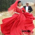 País occidental de Encaje Fuera del hombro Rojo Vestido de Novia Plus tamaño con Mangas Vestidos de Novia sash Robe De Mariaege Granja boda