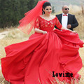 Western Country Lace Off the shoulder Red Wedding Dress Plus Size with sash Robe De Mariaege Sleeves Bridal Gowns Farm Wedding
