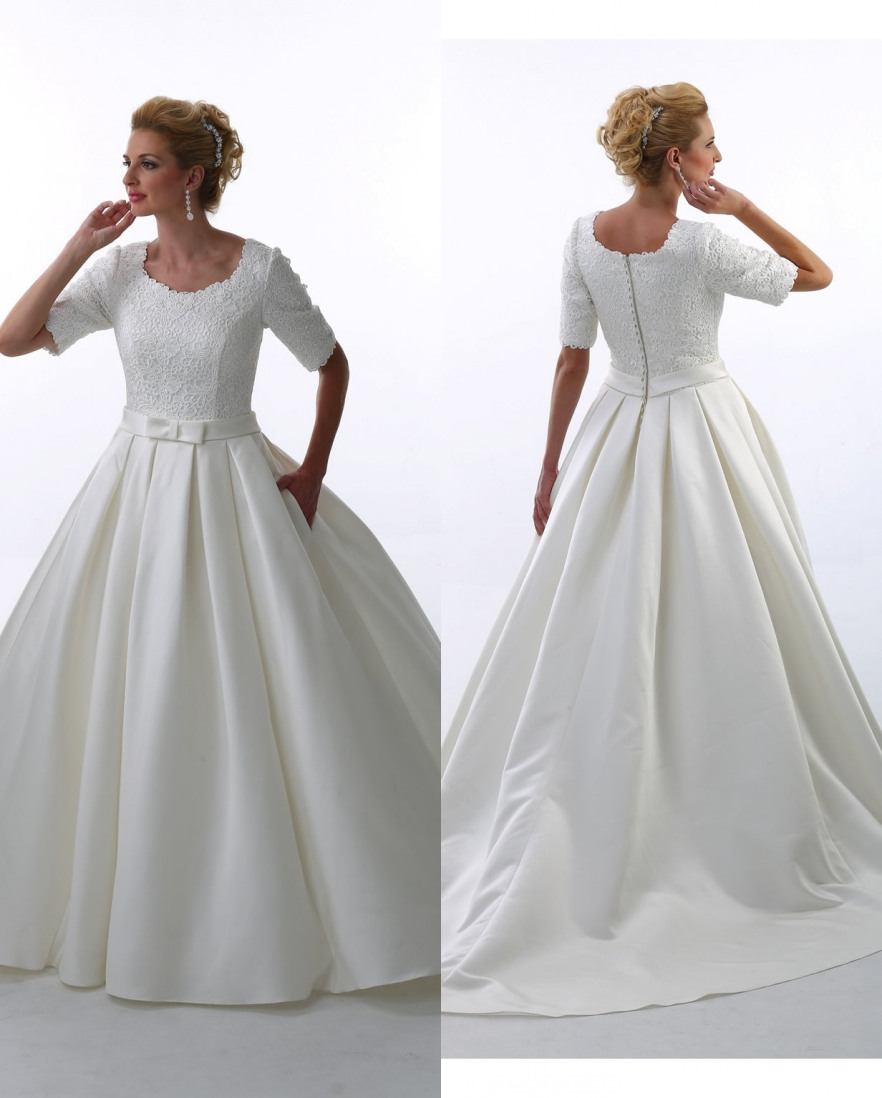 Ball Gown Lace Satin Modest Wedding Dresses With Half Sleeves Simple Vintage Country Bridal Gowns Princess Robe De Mariee