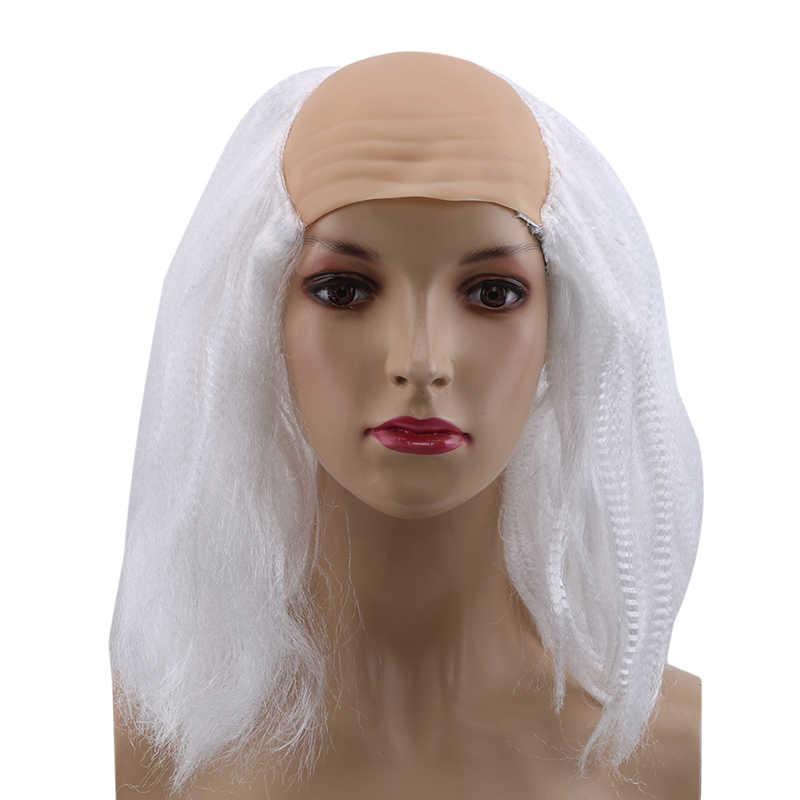 Вечерние костюмы на Хэллоуин для косплея, черный серовато-белый маскарадный костюм, лысый парик, парики для пожилых женщин, гаджеты для вечеринки на Хэллоуин