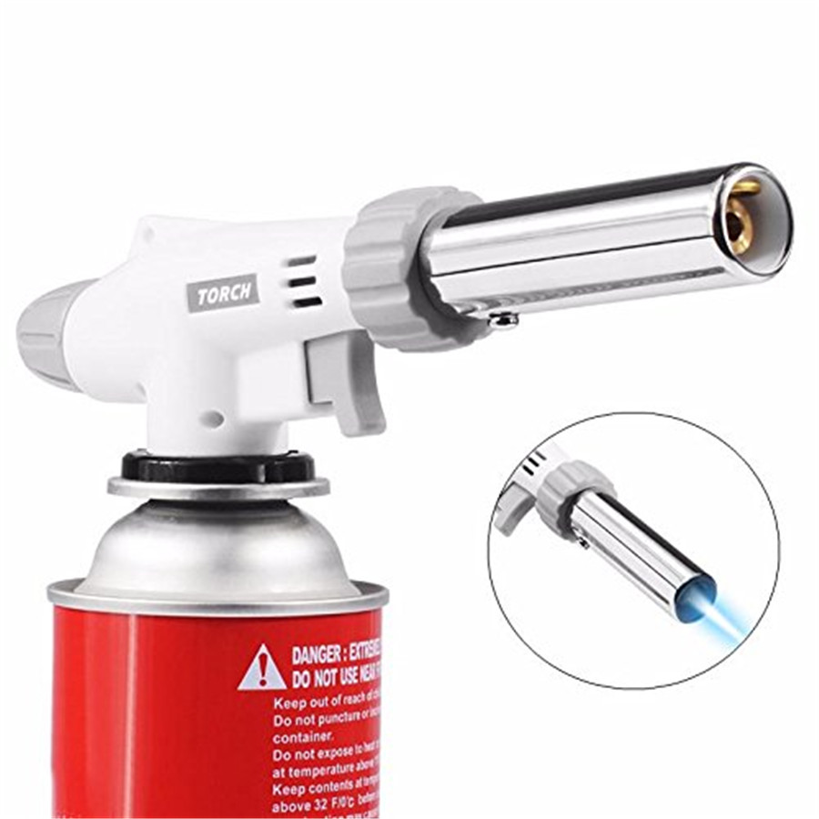 Barbecue Igniter Gas Torch Butane Burner Auto Ignition Camping Welding Flamethrower Outdoor BBQ Party High Temperature Flame Gun butane torch