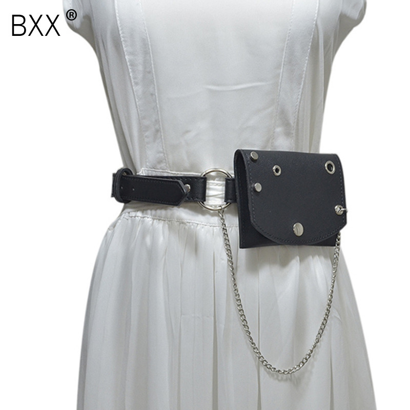 [BXX] Waist Bag Mini Chain Belt Punk Style Vintage Club Bag Female Hip Messenger Purse Metal Buckle Skirts Chest Bags HG761