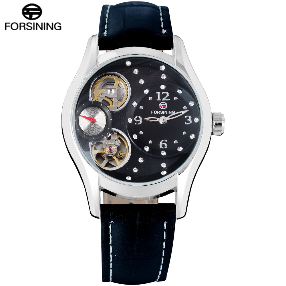 FORSINING Classic Fashion Mens Watches Skeleton Genuine Leather Top Brand Luxury Auto Mechanical Men Watch Relogio Masculino все цены