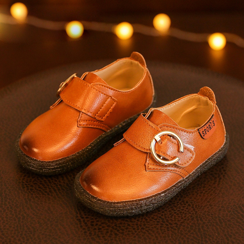 Kids Shoes Boys Leather Shoes 2018 Spring New Fashion Flat PU Leather Shoes Round Toe Children Shoes Girls Boys Casual Sneakers
