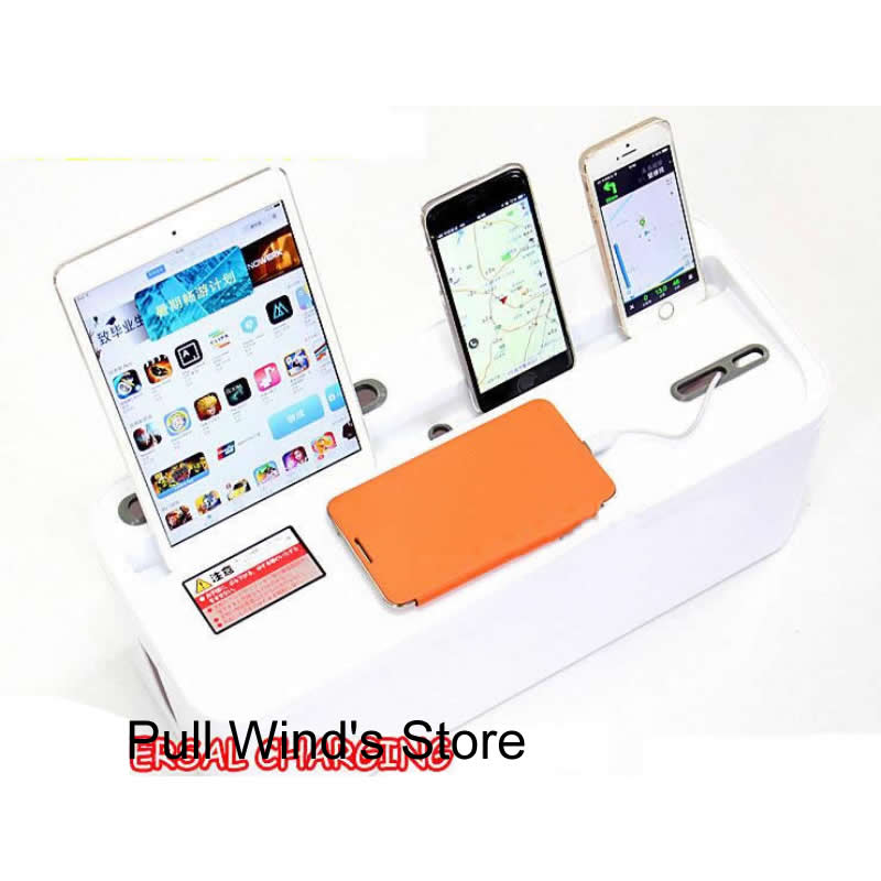 Universal Power socket plastic storage box Power cord finishing box tablet Phone charging cradle Home Storage Organization