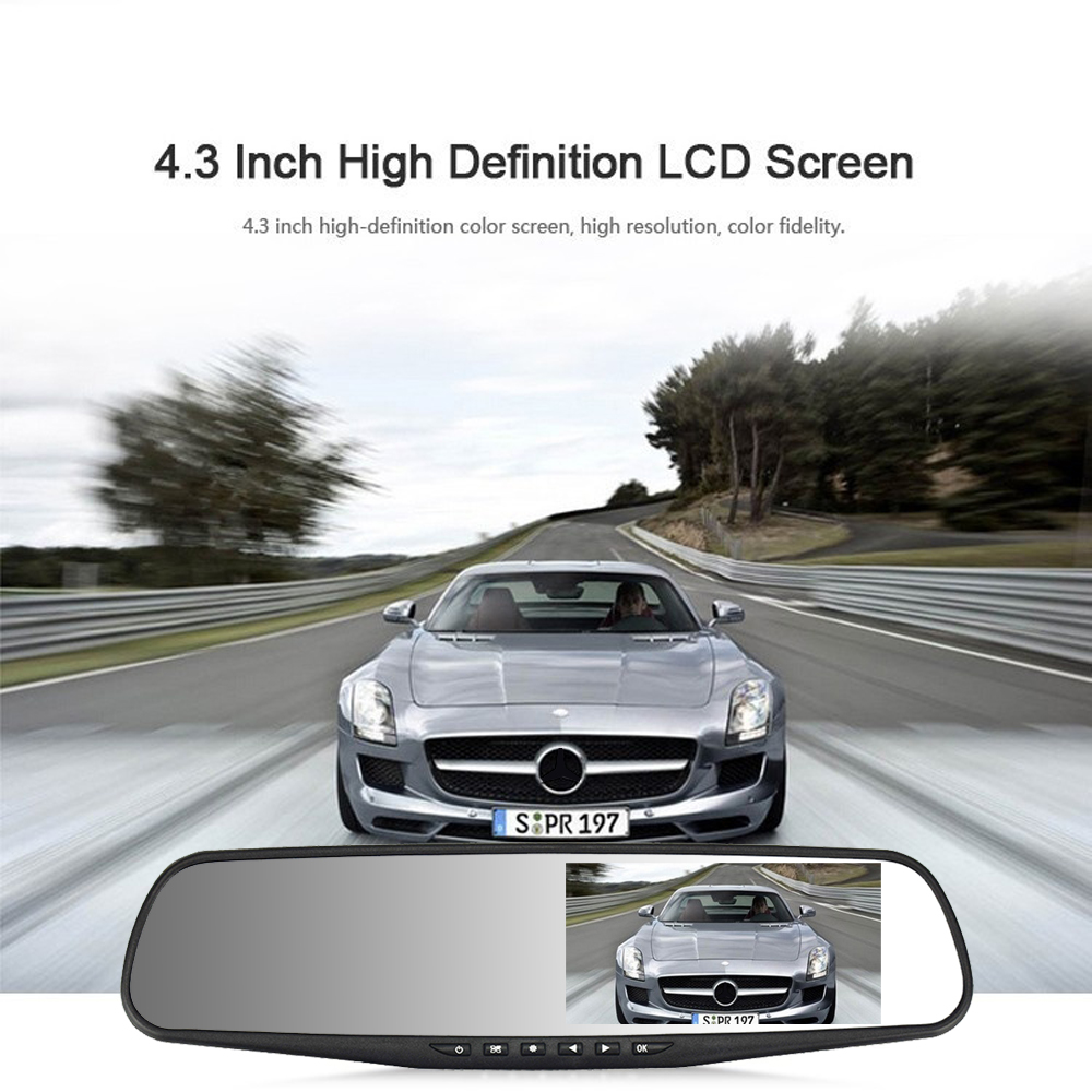 ADDKEY Car DVR Full HD 1080P 4.3 Inch IPS Touch Screen Recorder Dual Lens with Rear View Mirror Auto Registrator Dash Camera dvr 5