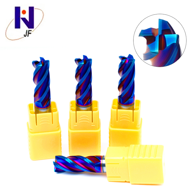 JF  for hard steel carbide nACo-Blue Coated  HRC65 D3.5*8*D4*50*4T  4 flutes flattened end mills with straight