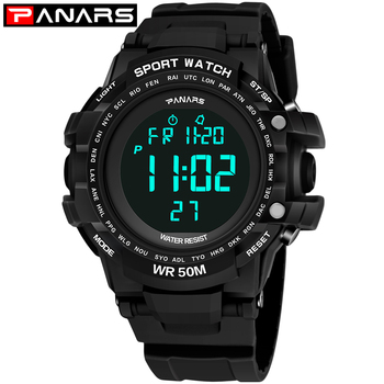 PANARS Mens Digital Watches LED Display Digital Watch Alarm 50m Waterproof Sport Watch Men Relogio Masculino Men's Watches shock