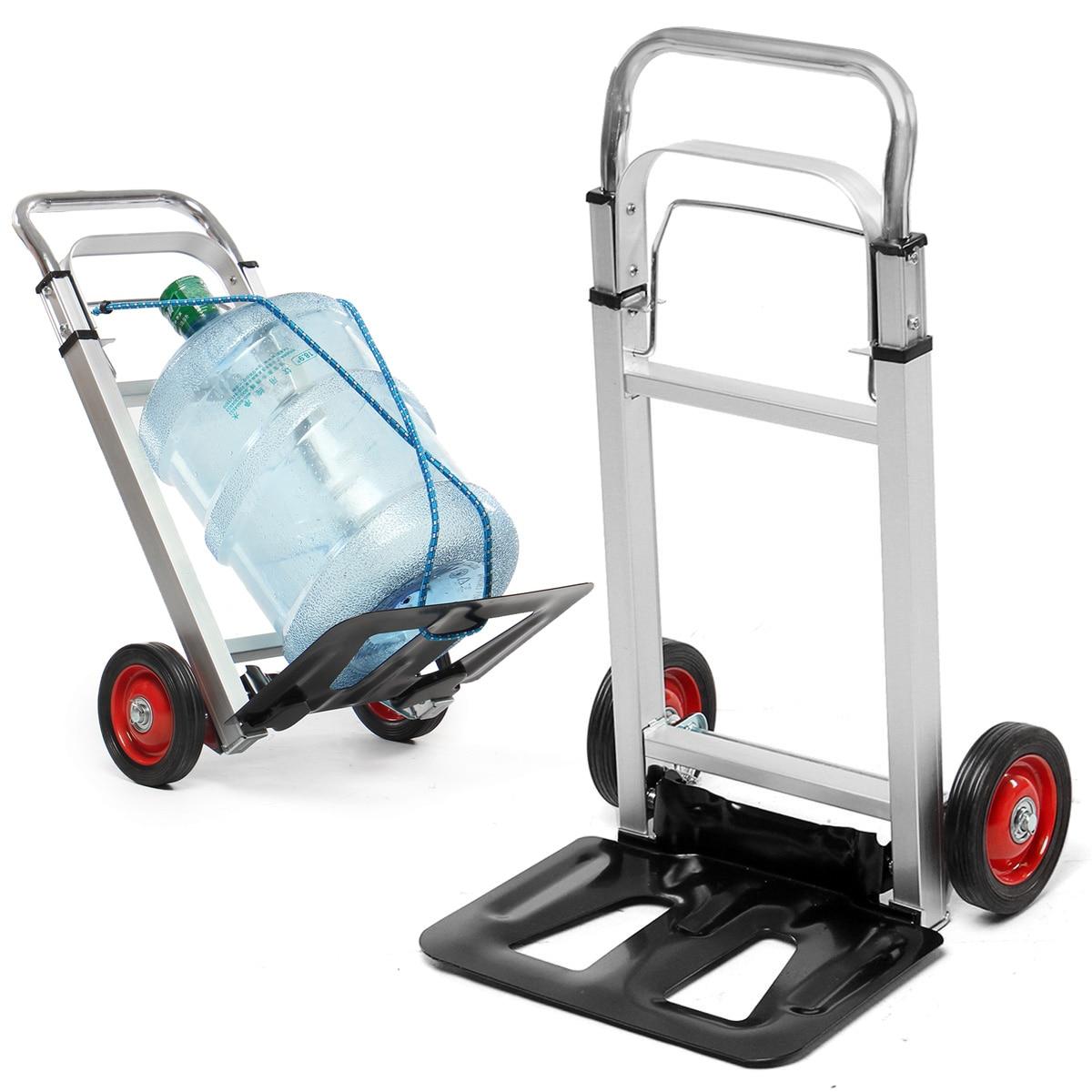 Portable Cart Foldable Trolly Aluminium Hand Truck Trolley Cargo Wheels 90kg Luggage Carts Shopping Wheels