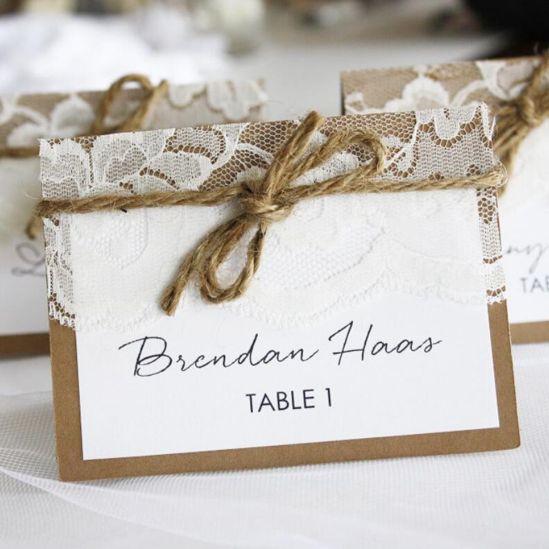 Marble Place Card Printed With Guest Name In Gold Foil For Wedding Events