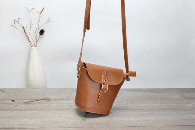 Real Leather Small Bags for Women Vintage Handmade leather bag Female Mini  Bucket Bag Retro messenger bag for girls Brown 916af916d8