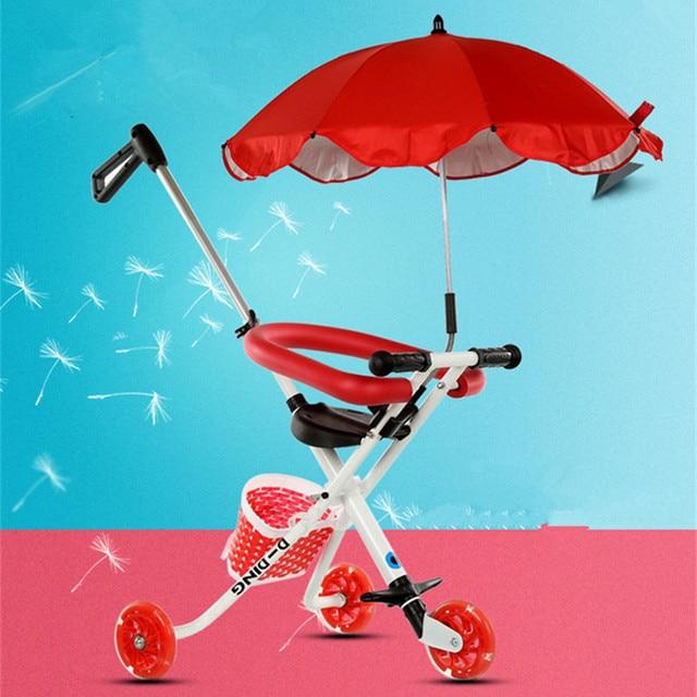 High Landscape Sun umbrella Baby Three Stroller Children's Folding Portable Carts Ultra-light Aluminum+ PU Kids Bike Stroller