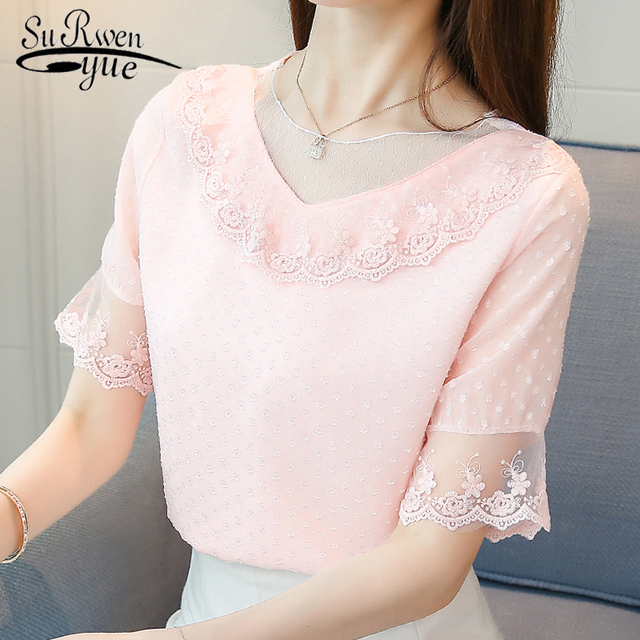 8f61c73cb2619 2019 fashion sweet pink summer tops chiffon blouse women shirt short sleeve  hollow lace shirt women's clothing blusas 0132 30