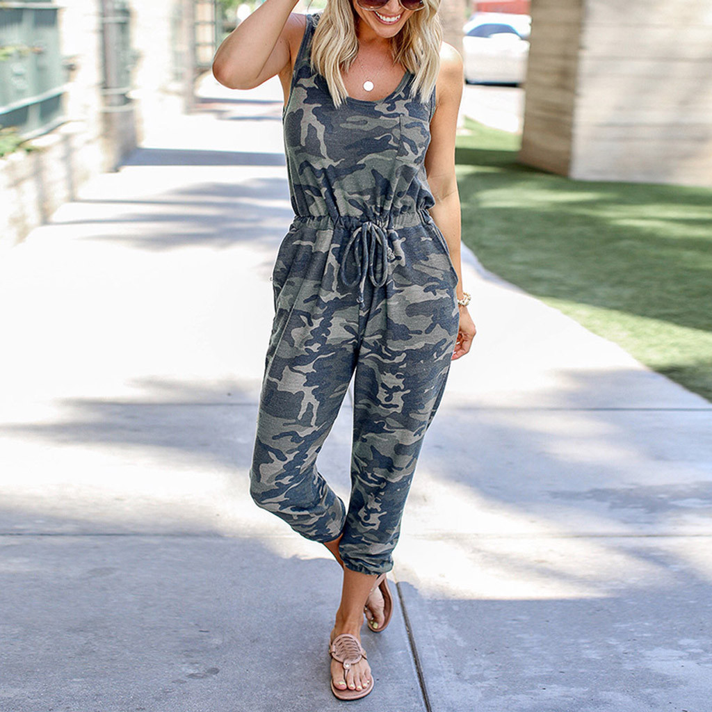 Fashion Women Sexy Jumpsuit Long Sleeve High Waist Jumpsuit Camouflage O-Neck Sleeveless Off Shoulder Bandage Casual Jumpsuits
