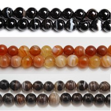 Baihande Natural Stripe Agate Onyx 6 8 10 12mm Black Red Coffee Gemstone Loose Beads For Necklace Bracelet DIY Jewelry Making