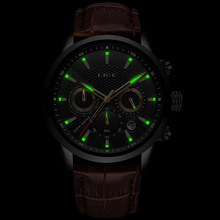 Relogio Masculino Men Watches LIGE Fashion Waterproof Chronograph Top Brand Luxury Quartz Watch Men Casual Leather Sport Watch(China)