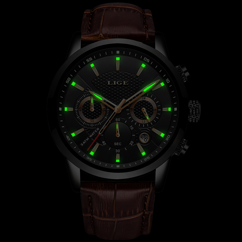 Relogio Masculino Men Watches LIGE Fashion Waterproof Chronograph Top Brand Luxury Quartz Watch Men Casual Leather Sport Watch