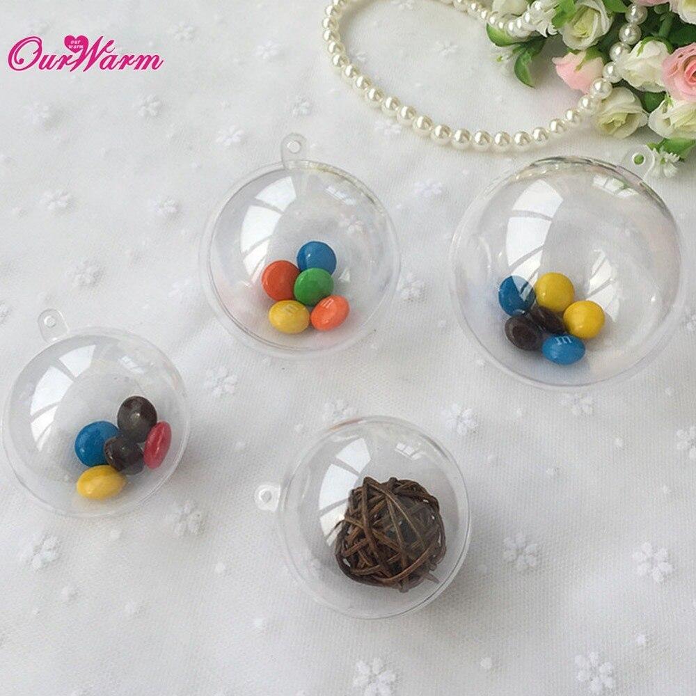 50pcs 80mm Transparent Plastic Gift Candy Box fillable ball baubles Decor wedding Xmas Christmas tree decoration