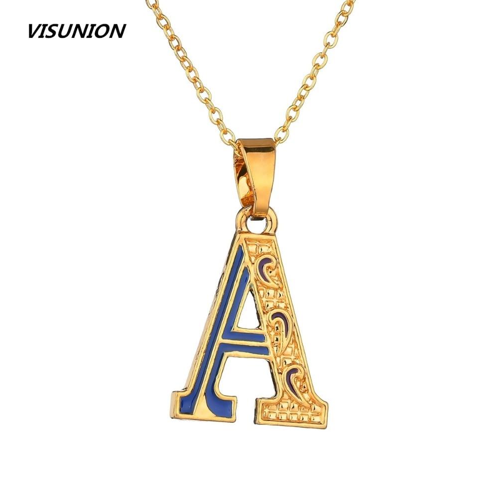 US $2 03 15% OFF|Gold Hip hop punk large Initial Letters Alphabet  Personalized Charm Big Letter Script Name Pendant Enamel Monogram  Necklace-in Chain