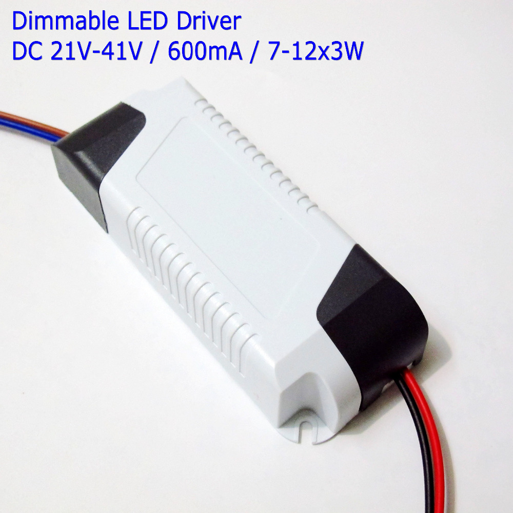High Efficient Dimmable Led Driver 600mA 7-12x3W DC <font><b>21V</b></font> - 41V <font><b>Adapter</b></font> 8x3W 10x3W 12x3W Power Supply <font><b>AC</b></font> 110V 220V for LED lights image