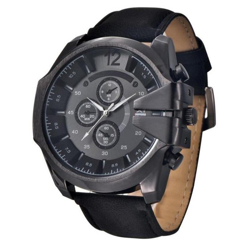 2017 Cool Men's Watch Analog Sport Steel Case Quartz Dial Leather Wrist Watch Gift reloj hombre clock free shipping