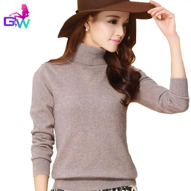 Suéter mujeres 2016 invierno cálido otoño cuello alto suave cómodo mujeres  Suéteres y Jerséis 13 color 850899d32c51