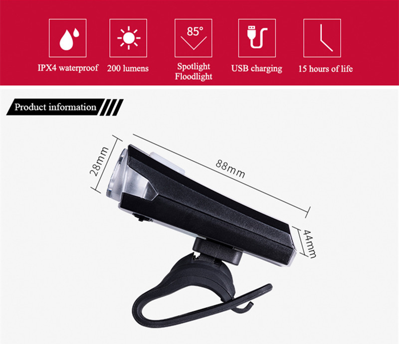WHEEL UP Bicycle Light Bike Waterproof IPX4 Headlight USB Rechargeable Mini Cycling Lamp Beads Floodlight Cycling Ligh