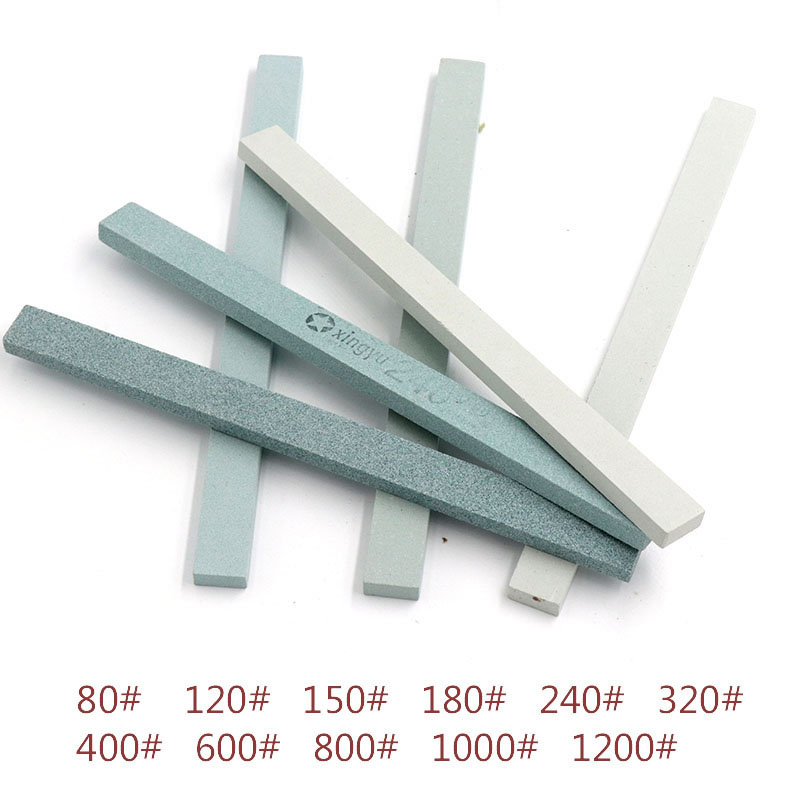 5 PCS Flat Side Oil Stone Green Silicon Carbide Abrasive Jade Article Fine Polishing Fixed-angle Special Oil Stone Sharpener