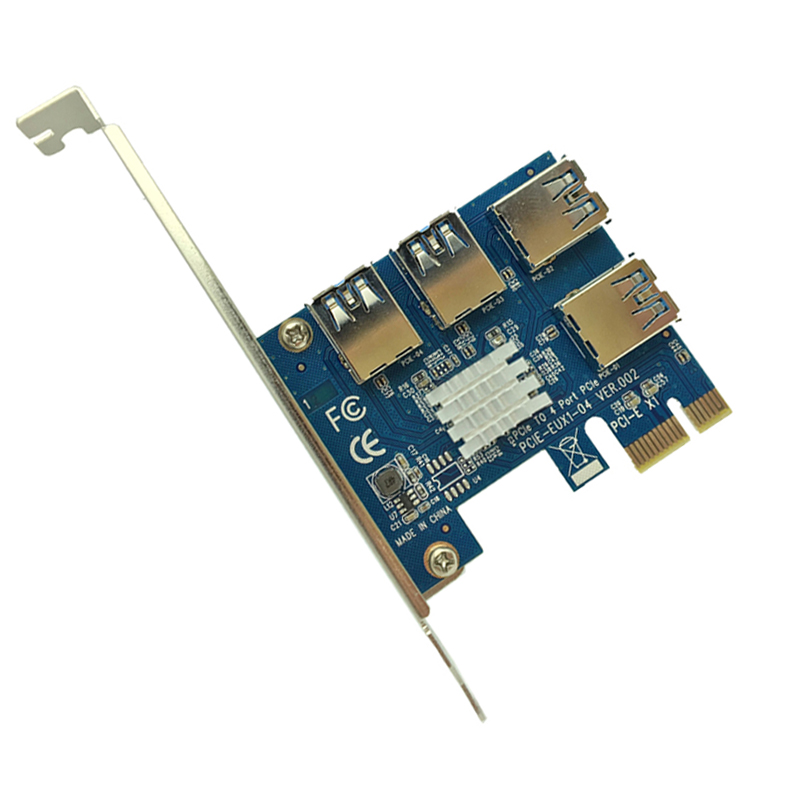 PCI-E to PCI-E Adapter 1 Turn 4 PCI-Express Slot 1x to 16x USB 3.0 Mining Special Riser Card PCIe Converter for BTC Miner Mining-1