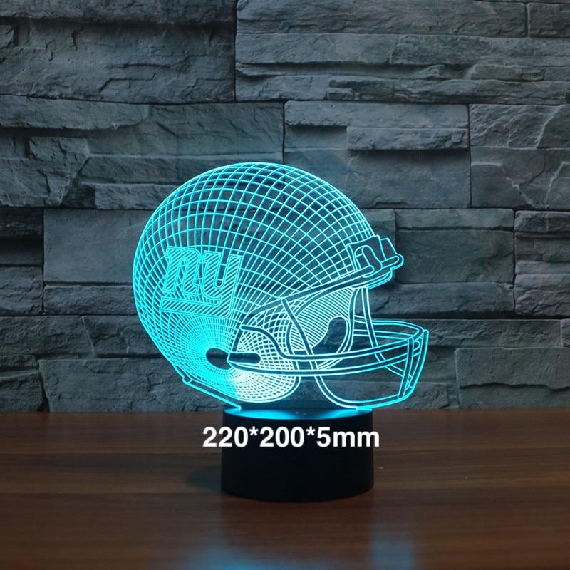 Los Gigantes de Nueva York equipo de fútbol casco 3D led de luz de la noche de 7 cambio de color Sensor táctil holograma niños Fans regalos lámpara de mesa