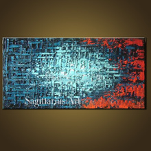 Hand Painted High Quality Modern Palette Knife Painting Blue Metal Wall Art Abstract Oil Painting Canvas Wall Living Room Fine