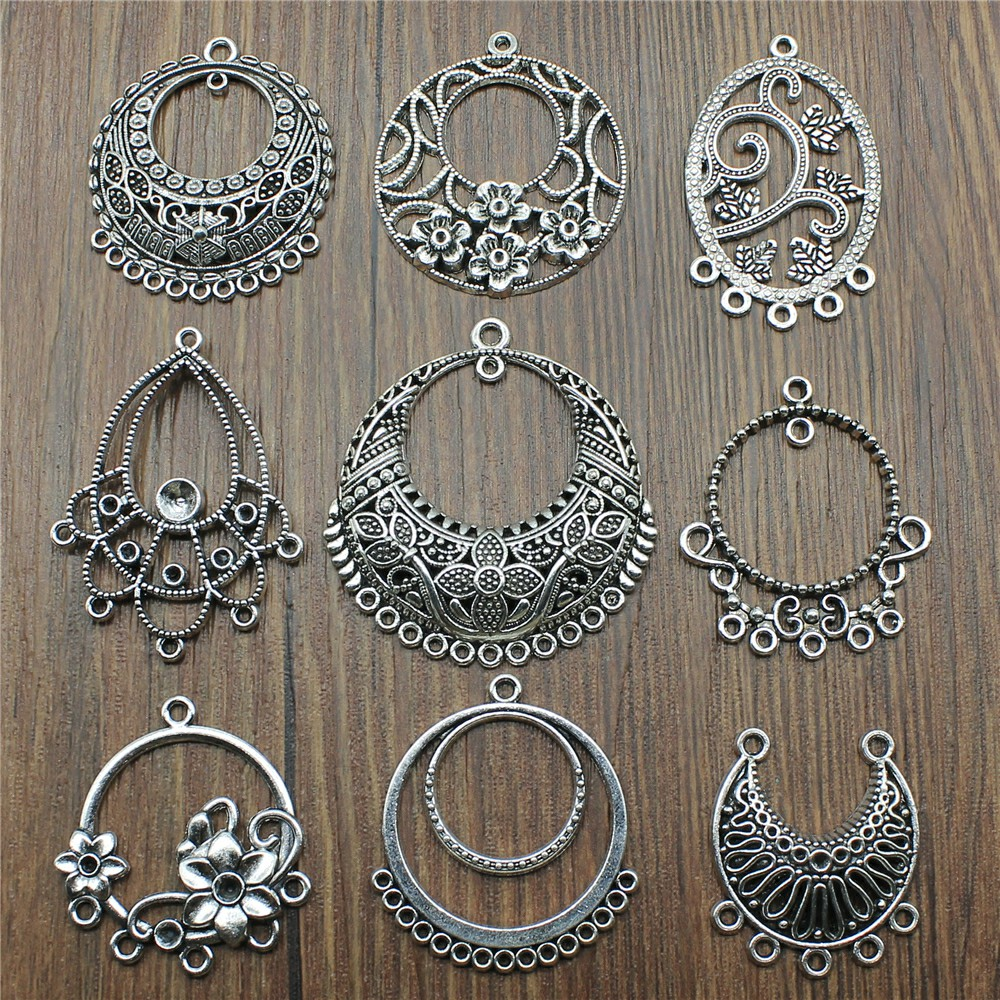 6pcs/lot Antique Silver Color Earring Connector Charms For Jewelry Making Charms Earring Connector Jewelry Findings Diy