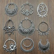 6pcs/lot Antique Silver Color Earring Connector Charms For Jewelry Making Charms Earring Connector Jewelry Findings Diy(China)