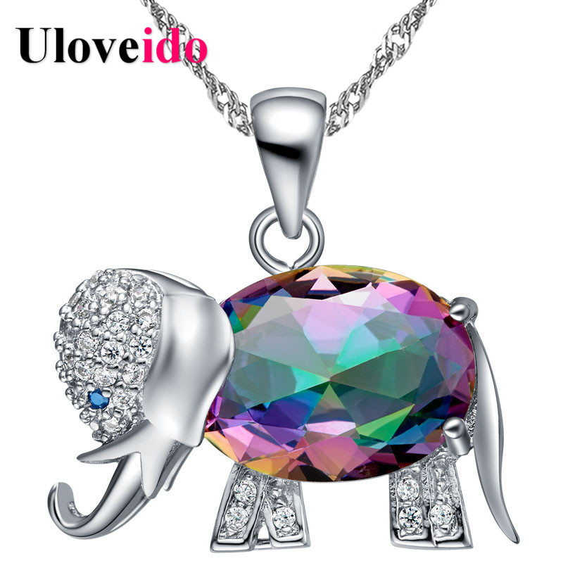 Uloveido Rainbow Elephant Pendant Necklace Chain Animal Necklaces & Pendants Silver Color Cute New Year Gifts For Girls N1154