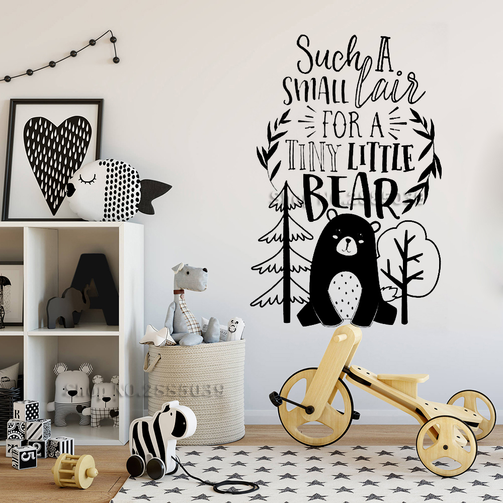 Us 7 97 25 Off Bear Woodland Words Wall Stickers For Kids Baby Nursery Art Mural Decor Vinyl Quotes Decals Cute Boy Bedroom Hot La991 In