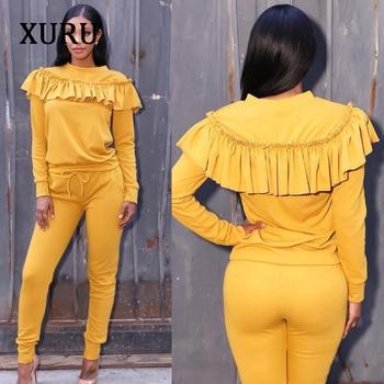 XURU Elegant Ruffles Women Jumpsuits Autumn Winter Two Piece Long Sleeve Set Womens Casual