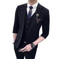 Cozimastarla летом мужской костюм 7 точка рукав куртки и 9 точка брюки мода набор для мальчиков Slim Fit повседневное комплект одежды из 3 предметов ко