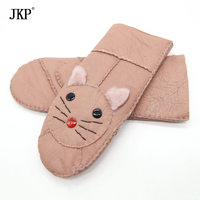 Women Real Leather Cartoon Genuine Leather Gloves Winter Accessories Cute Warm Wife Lovely Mittens Gloves ST