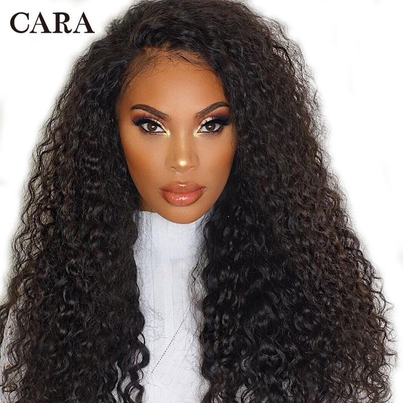 13x6 Bouclés Avant de Lacet Perruques de Cheveux Humains Pour Les Femmes 250 Densité Avant de Lacet Perruque Pré Pincées Partie Profonde brésilienne Perruque Noir Remy CARA
