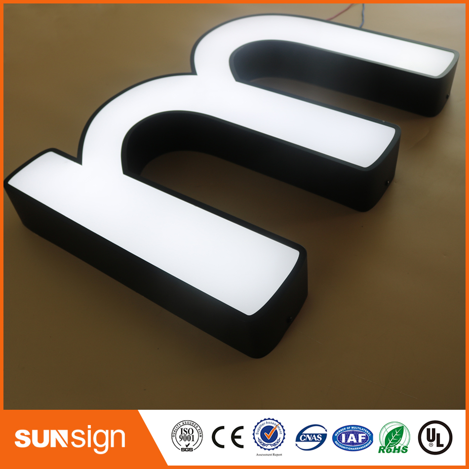 Indoor Mini Acrylic Led Illuminated Letters, Frontlit Stainless Steel Acrylic Lighting Up 3d Led Letter Sign