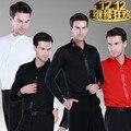 Мужской Латинский Танец Рубашка Черный Белый Красный Мальчик мужская Бальные Рубашки Современные Румба Ча-Ча Самба Танго Сальса Танец рубашка