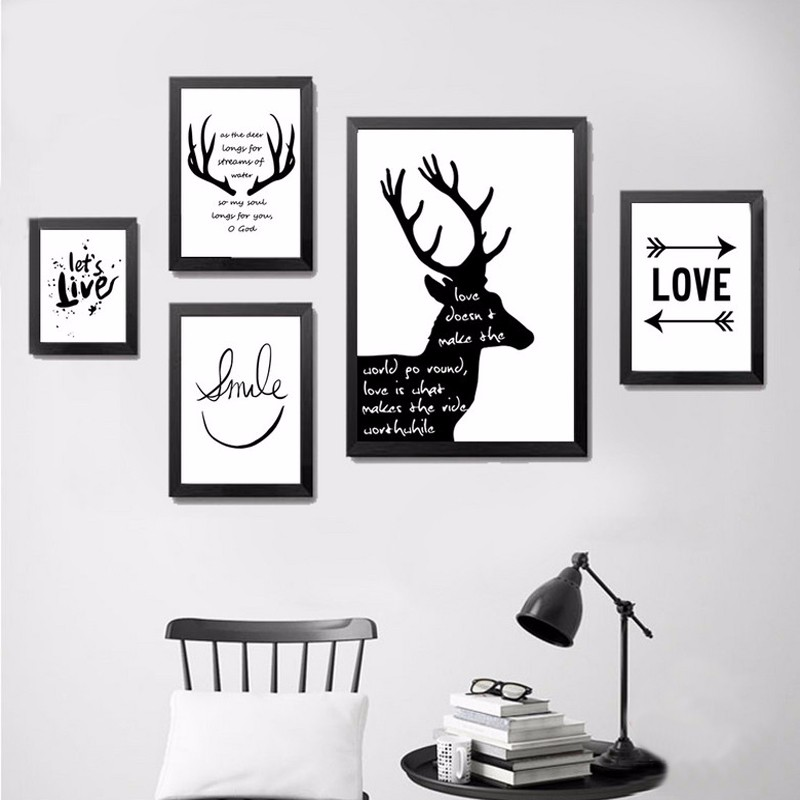 black and white wall pictures for living room aliexpress buy black and white minimalist deer 28163