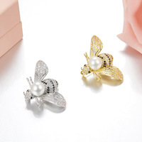 Famous Brand Unique Bee Design Women Pearl Brooches muje Zircons Elegant 925 sterling silver Broche 2018 christmas jewelry