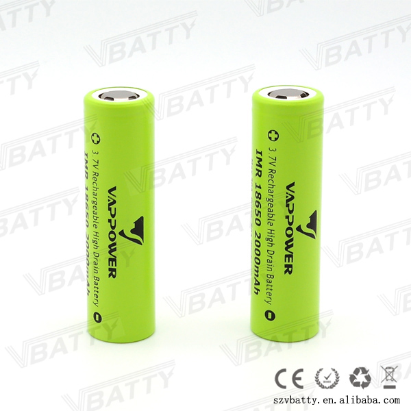 Vappower IMR 18650 2000mah 30A 3.7V rechargeable high drain Li-ion battery with flat top(1 pc)