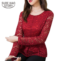 2017 New Arrived Autumn Blouse Female Large Size Lace Shirt Women Long Sleeved Shirt Slim Shirt