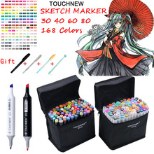 TOUCHNEW Markery 40/60/80 Colors Artist Dual Headed Marker Set Manga Design School Drawing Sketch Markers Pen Art Supplies HOT